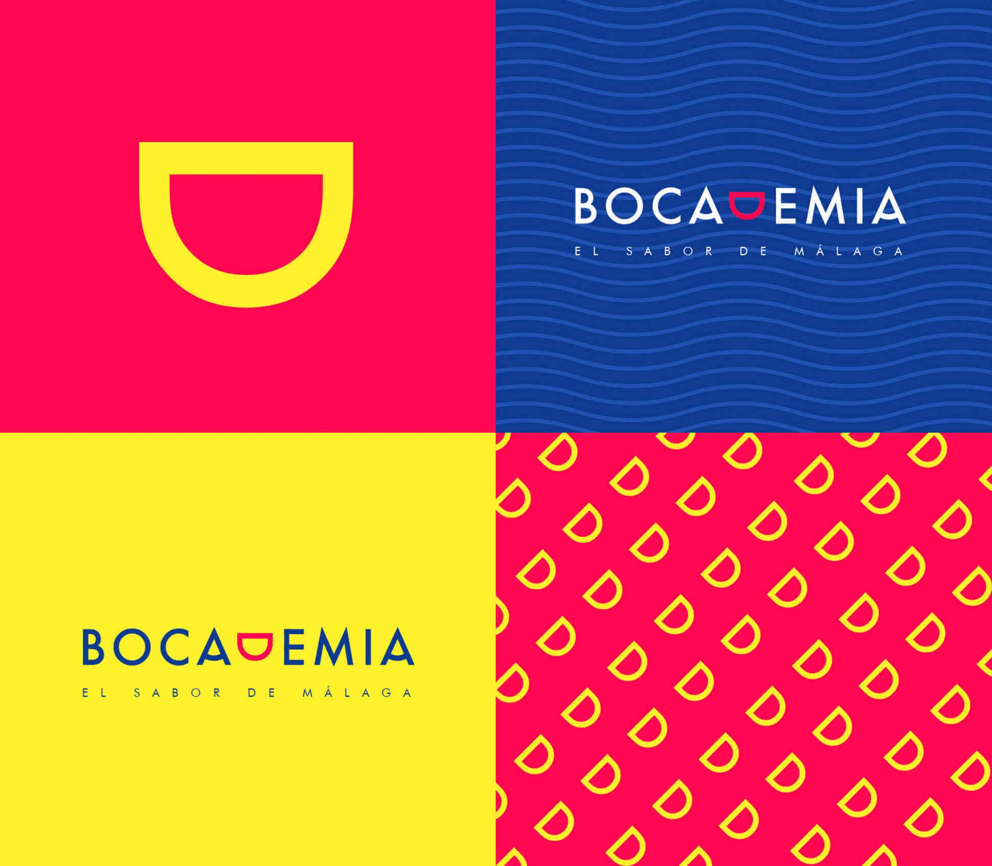 Aplicaciones de la marca Bocademia con fondos y patrones