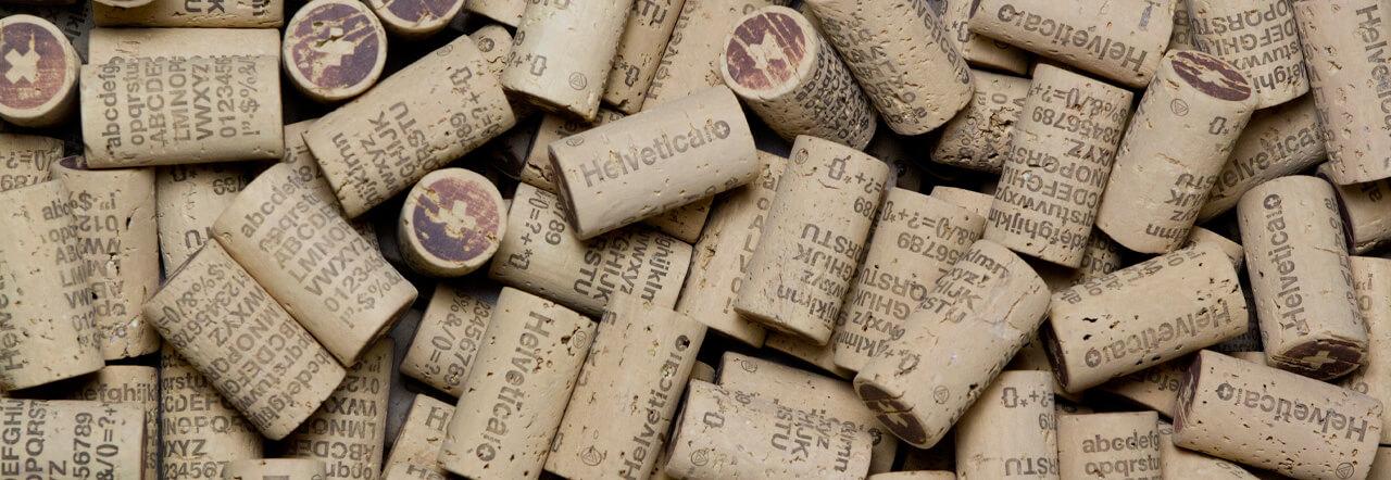 Fotografía de los corchos de Helvetica Wine