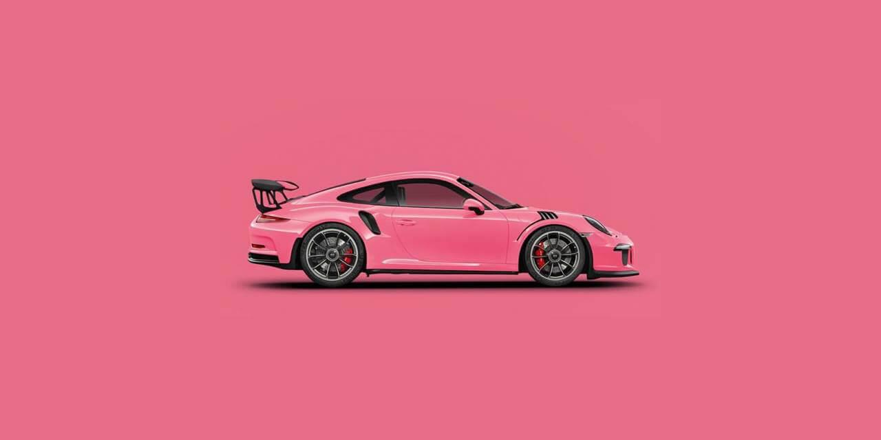 Creatividad de Porsche 911 GT rosa sobre fondo rosa