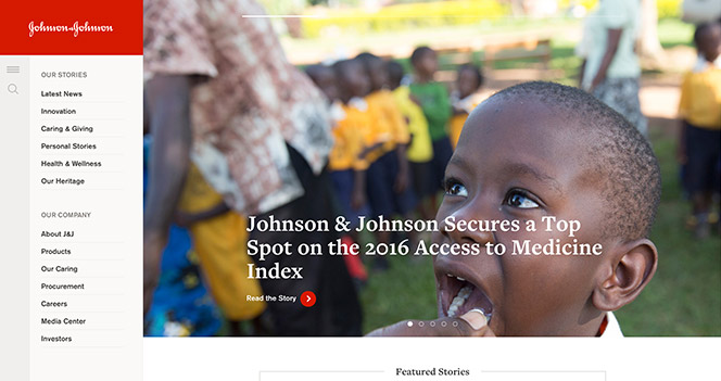 Sitio web de Johnson & Johnson usando Drupal