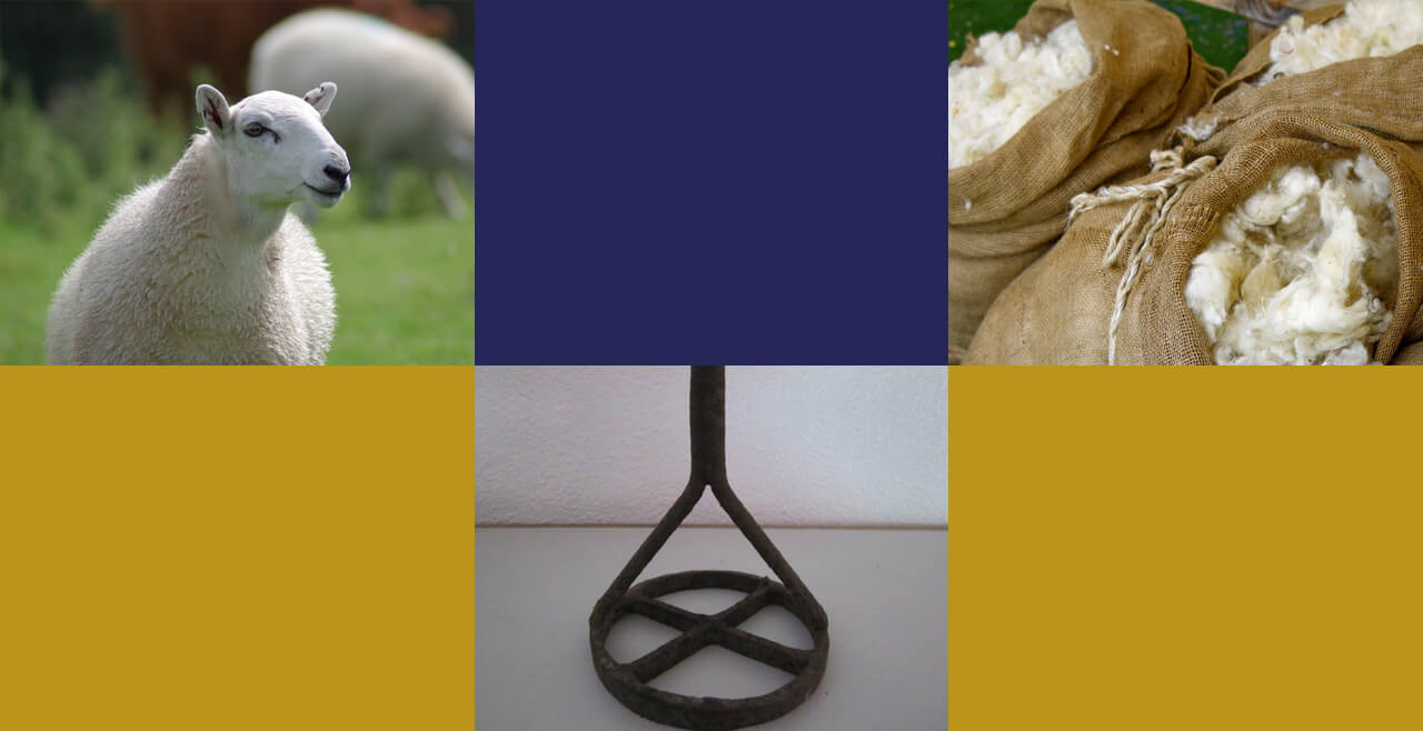 Fotografías de oveja, lana y hierro de marcado del ganado