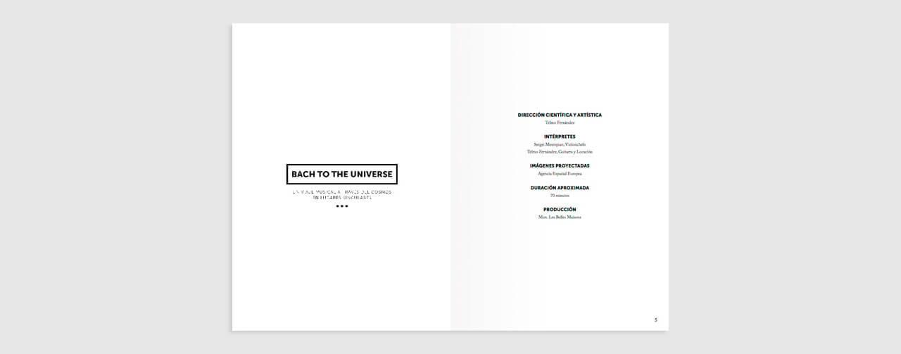 Páginas del libreto de Bach to the universe