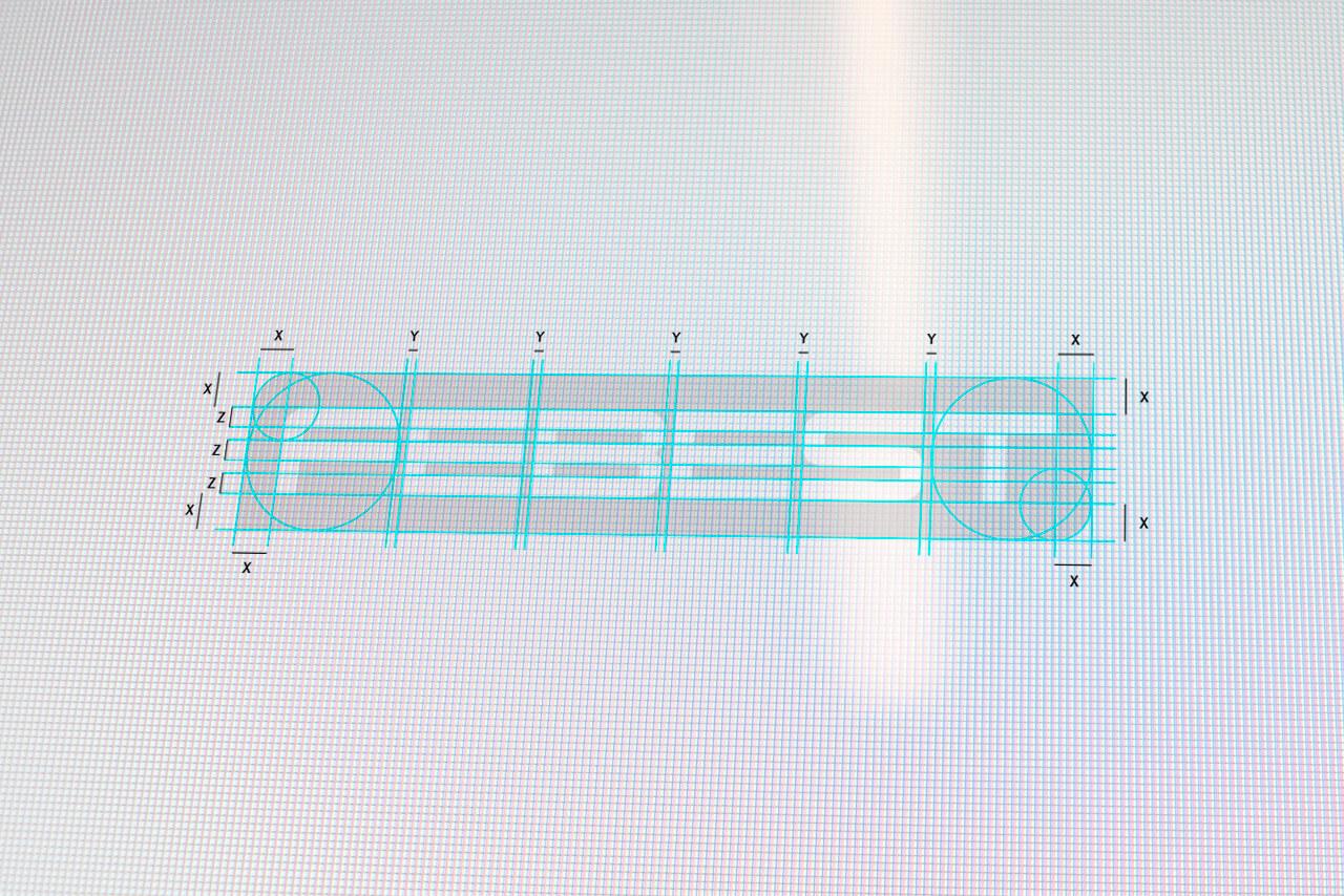 Esquema del logotipo de Febest