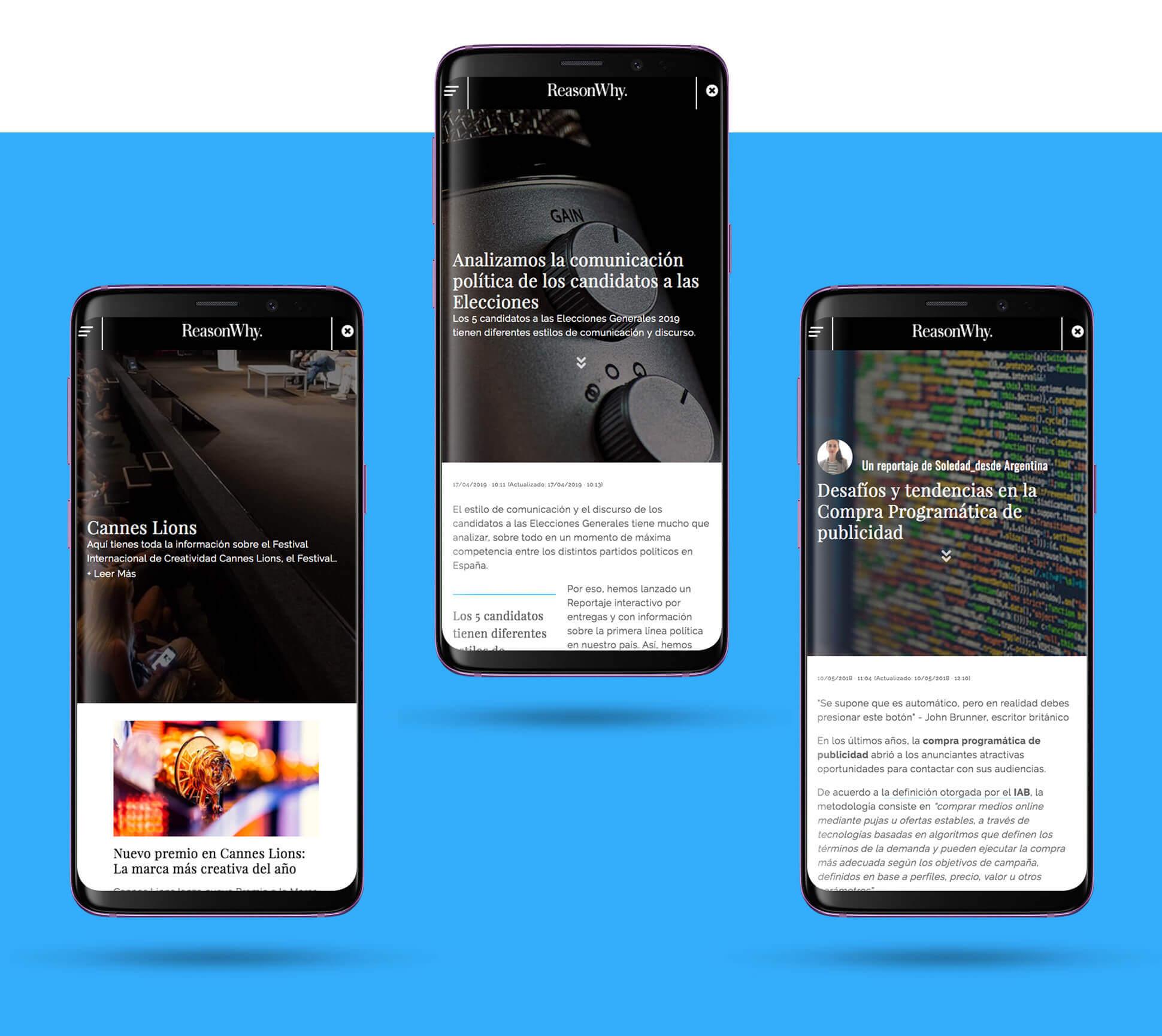 Mockups de la versión mobile de reasonwhy.es