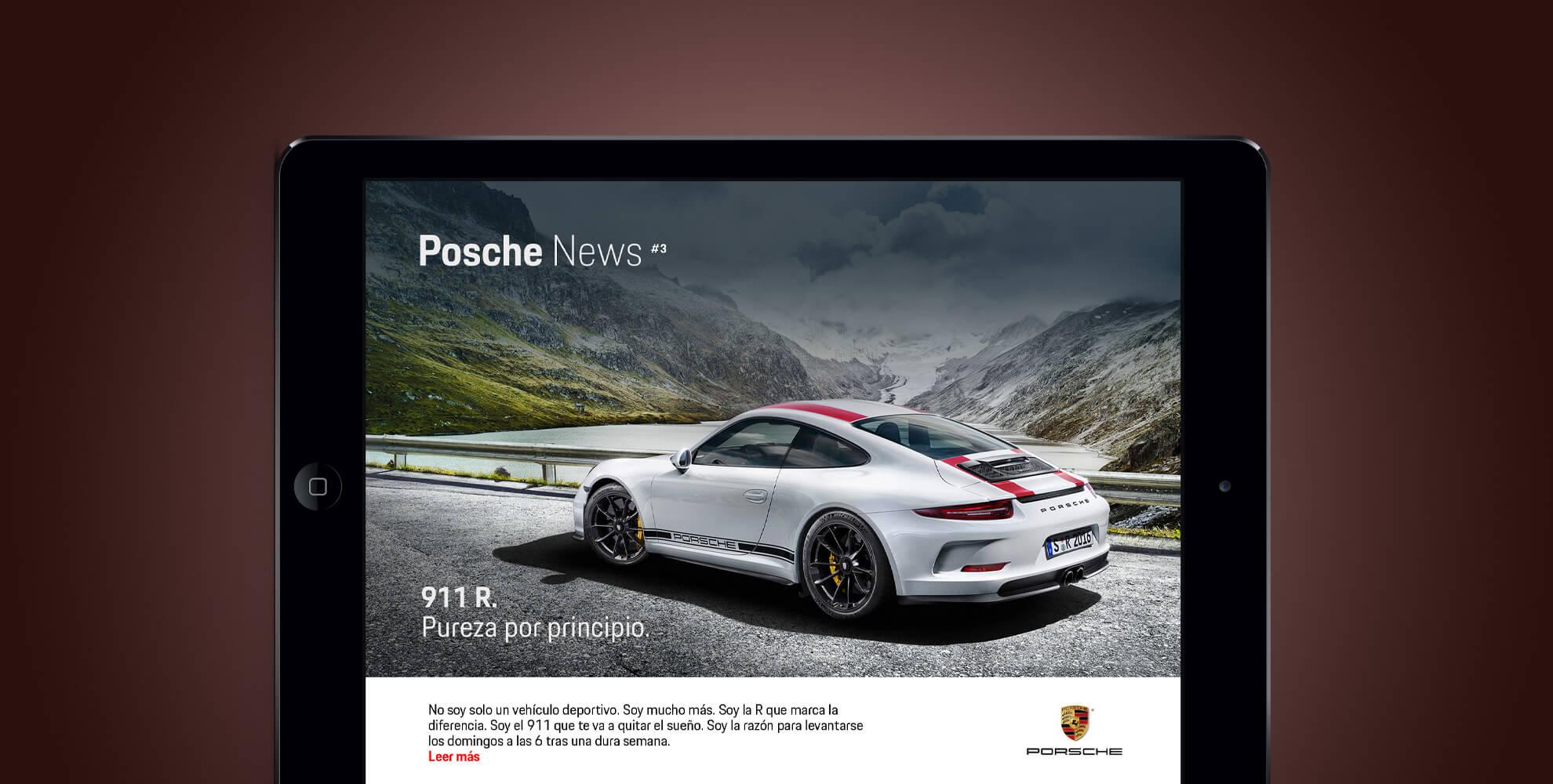 Captura Porsche inews en una tablet