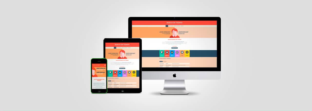 Fotografía de iMac, iPad y iPhone con bancodeltiempo