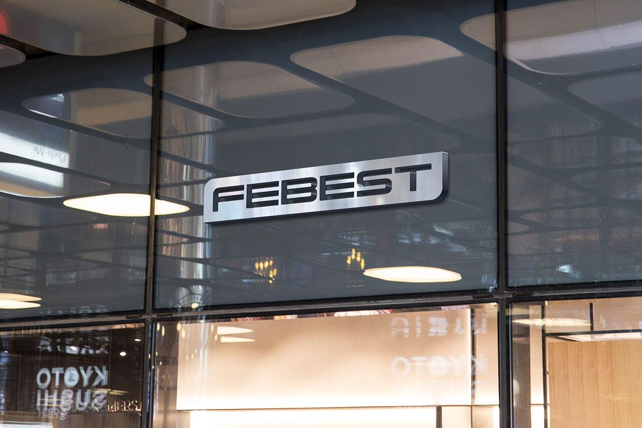 Letrero de logo de Febest en fachada