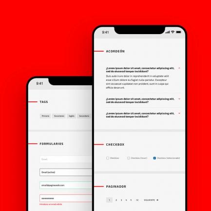 Mockup con dos ejemplos de UI en mobile