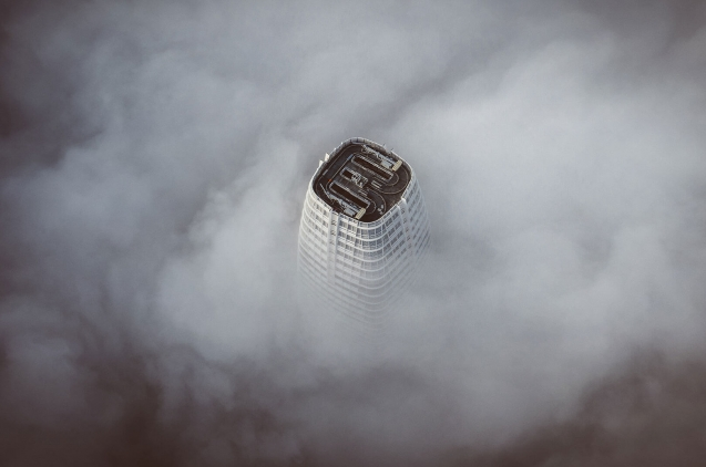 Roof of Skywrapper from above in cloudy day