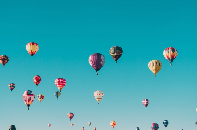 Ballons in the blue sky