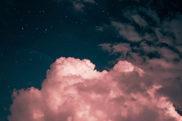Pink clouds and stars