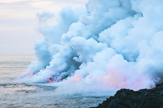 Lava flow touching the sea surface
