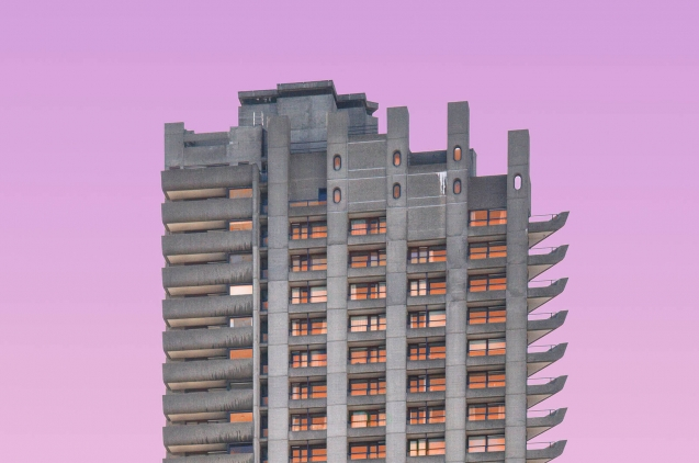 Building with pink sky as background