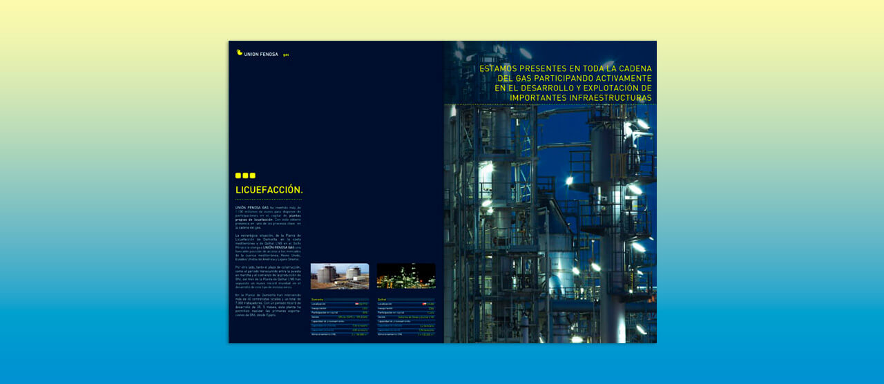 Folleto prestigio para Unión Fenosa Gas
