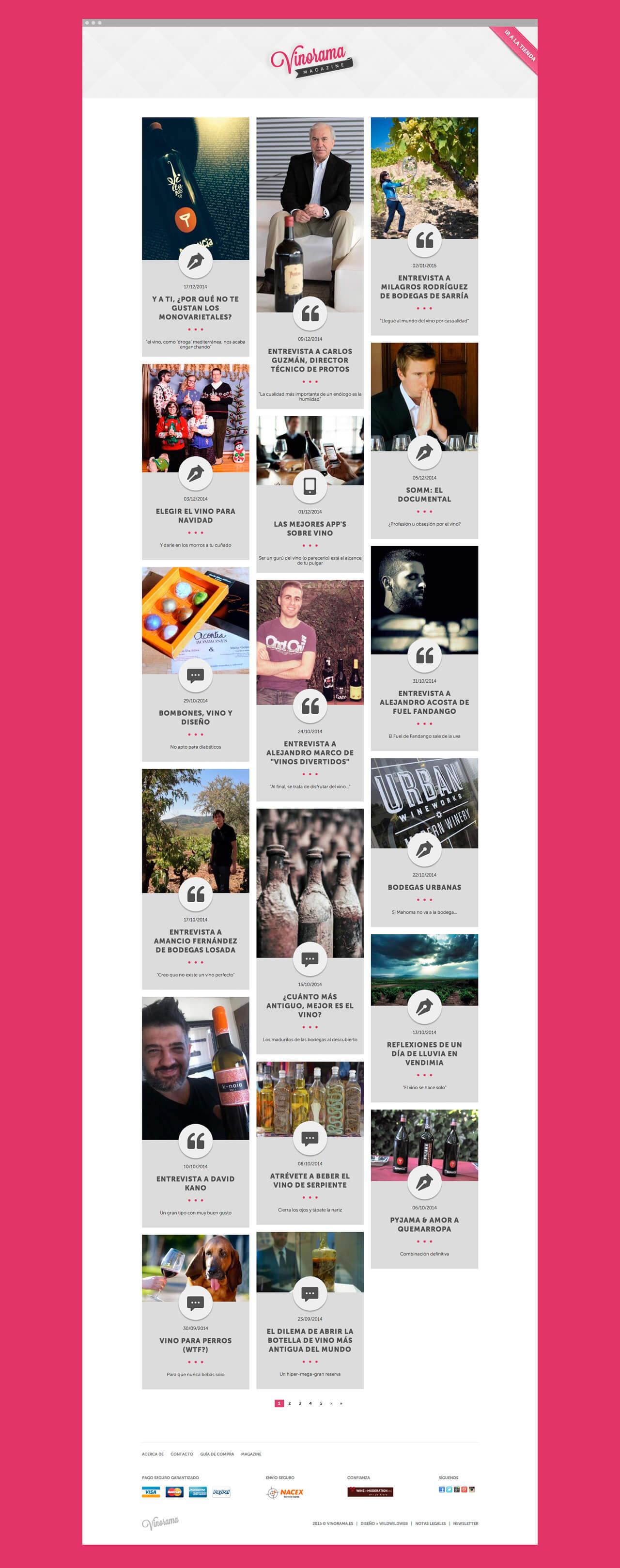 Pantallazo de la sección Magazine de vinorama.es