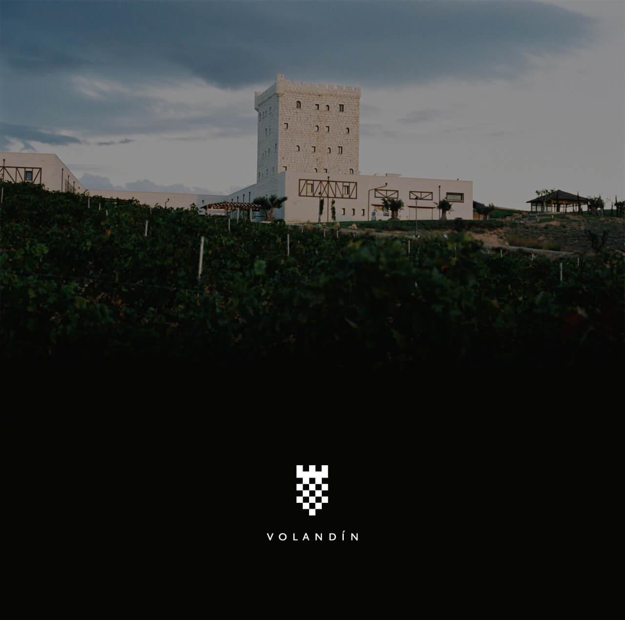 Logo de Volandín sobre fotografía del castillo de la bodega