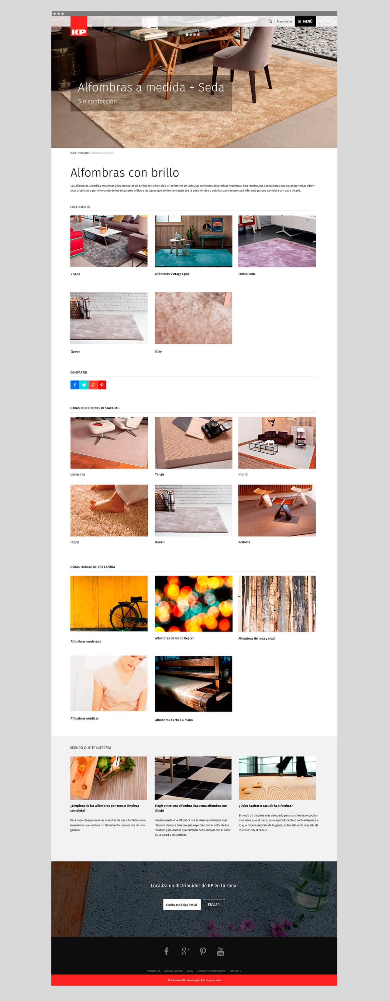 Pantallazo de la web de alfombraskp.com