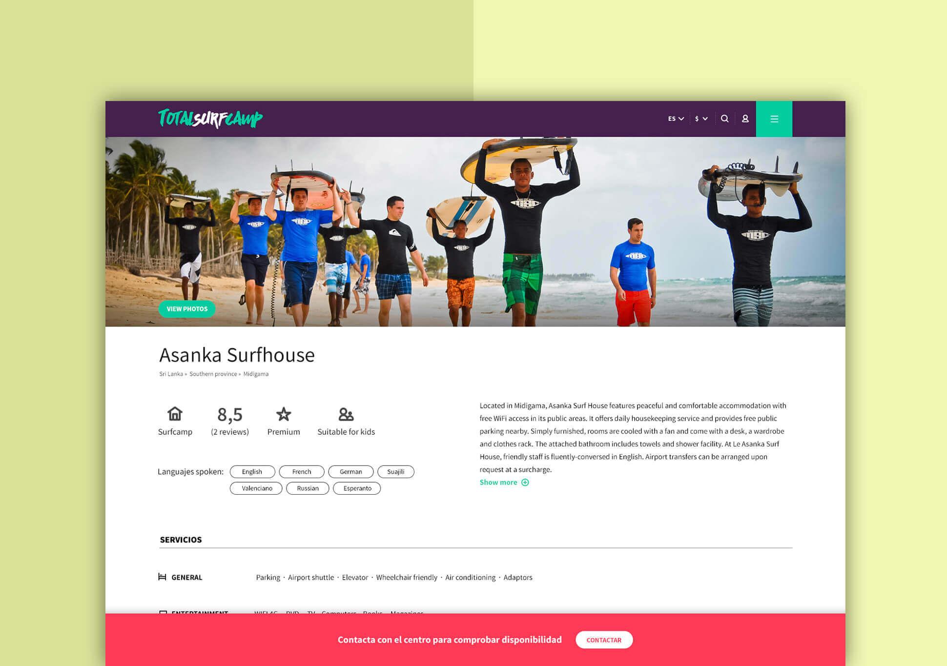 Funcionamiento de los perfiles de surfcamps en la web de Totalsurfcamp