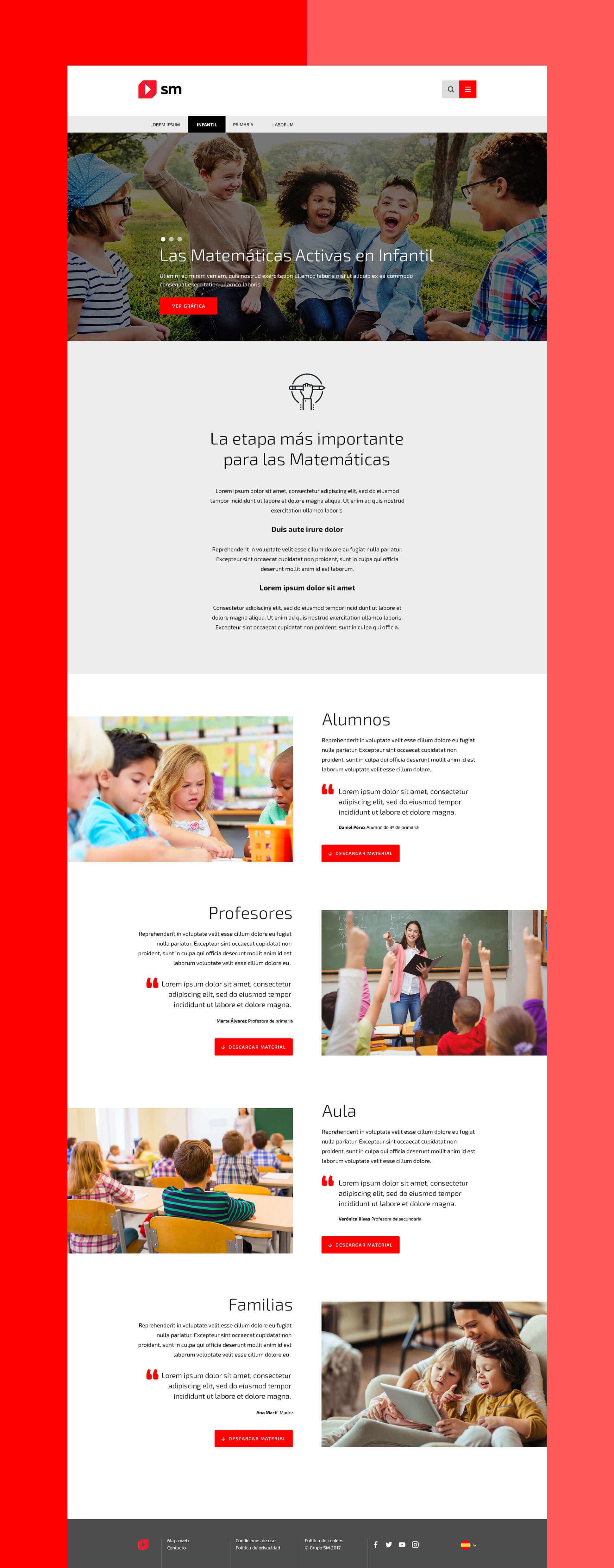 Diseño de la landing page de SM